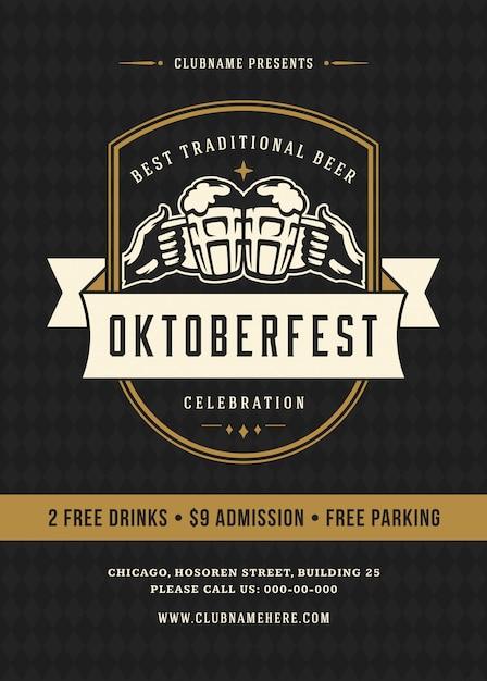 Oktoberfest beer festival celebration retro typography poster Premium Vector