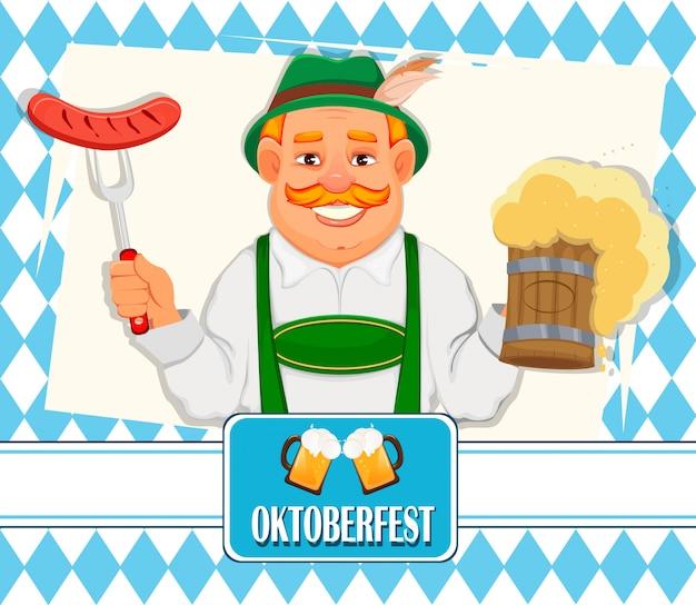 Oktoberfest, beer festival. cheerful man Premium Vector