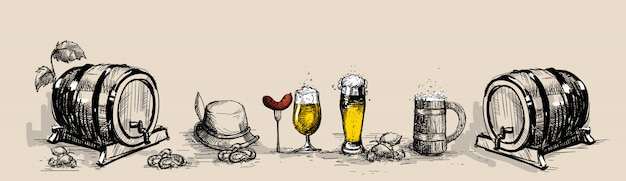 Oktoberfest beer festival decoration Premium Vector