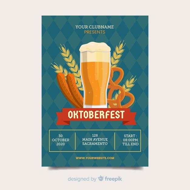 Oktoberfest beer festival flyer template Free Vector