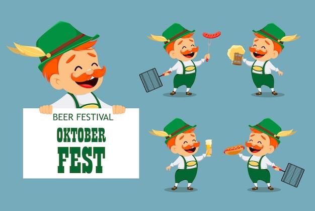 Октоберфест, пивной фестиваль. забавный человек Premium векторы