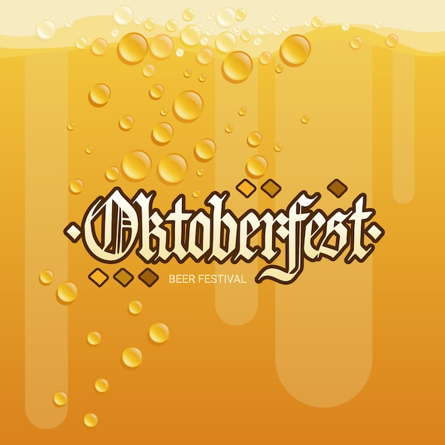 Oktoberfest beer festival holiday decoration banner Premium Vector