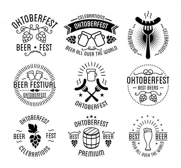 Oktoberfest beer festival lettering Premium Vector