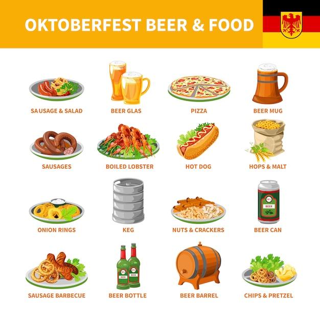 Октоберфест пиво food flat набор иконок Бесплатные векторы