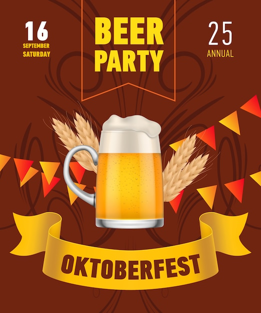 Oktoberfest, beer party lettering with beer mug and wheat Free Vector