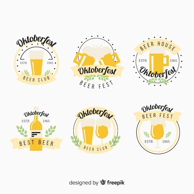 Oktoberfest beers label collection in flat design Free Vector