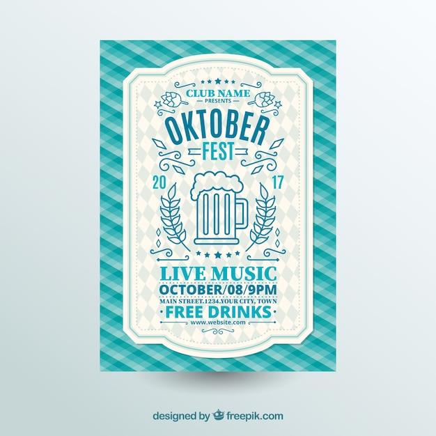 Oktoberfest, blue festive poster Free Vector