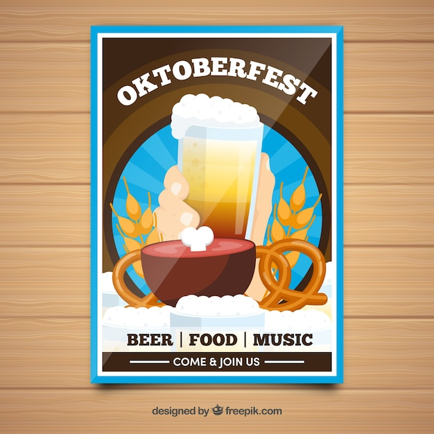 Oktoberfest brochure with beer and traditional items
