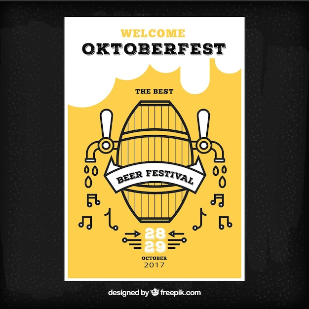 Oktoberfest brochure with beer barrel