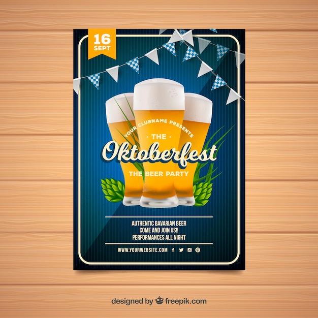 Oktoberfest brochure with beers and garlands