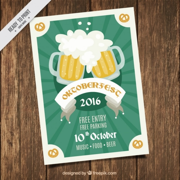Oktoberfest brochure with beers in vintage style
