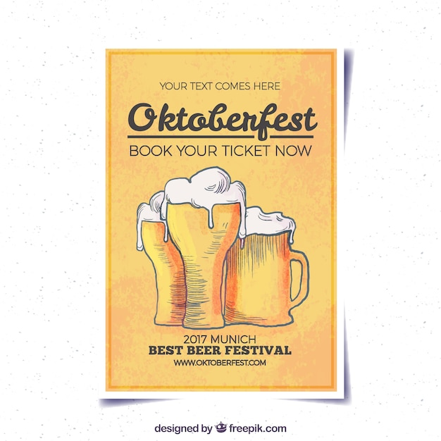 Oktoberfest brochure with hand drawn beers