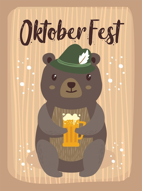 Oktoberfest cartoon cute animal bear october beer festival Premium Vector