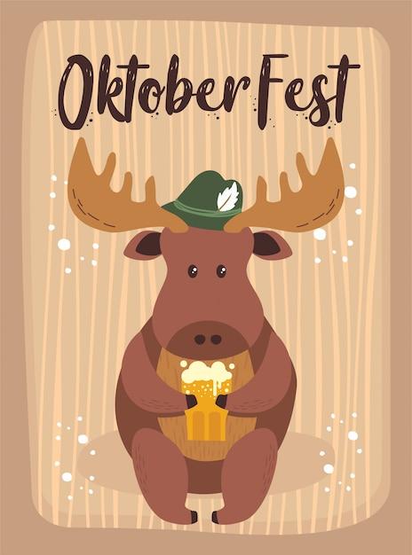 Oktoberfest cartoon cute animal moose october beer festival Premium Vector