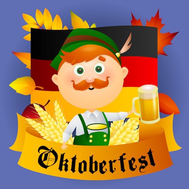 Oktoberfest cartoon man character with beer Free Vector