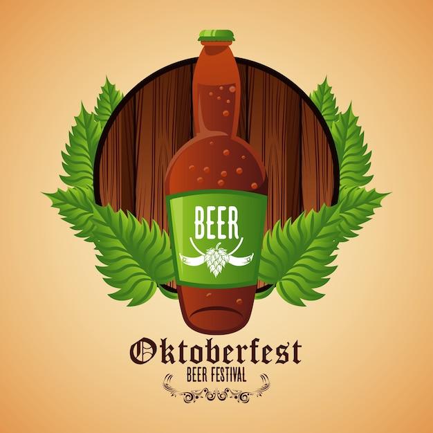 Плакат фестиваля празднования октоберфест с пивной бутылкой в деревянной рамке. Premium векторы