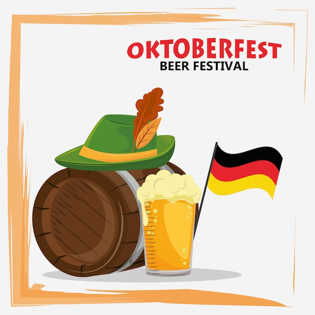 Oktoberfest celebration with beer and hat Premium Vector