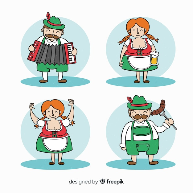 Oktoberfest character collection Free Vector