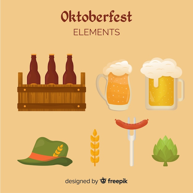 Oktoberfest classic element collection with flat design Free Vector
