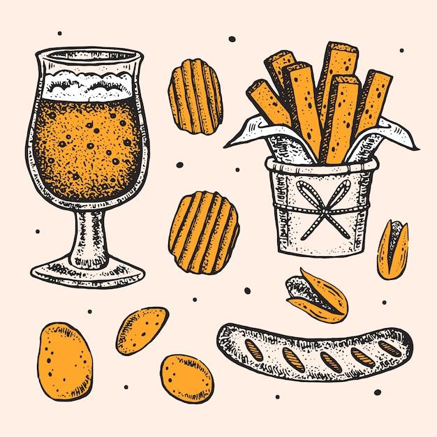 Октоберфест картинки, набор элементов. стакан пивного алкоголя, закуски, фаст-фуд. немецкая колбаса, жареный картофель, чипсы, фисташки. Premium векторы