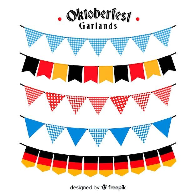 Collezione di ghirlande colorate oktoberfest in design piatto Vettore gratuito