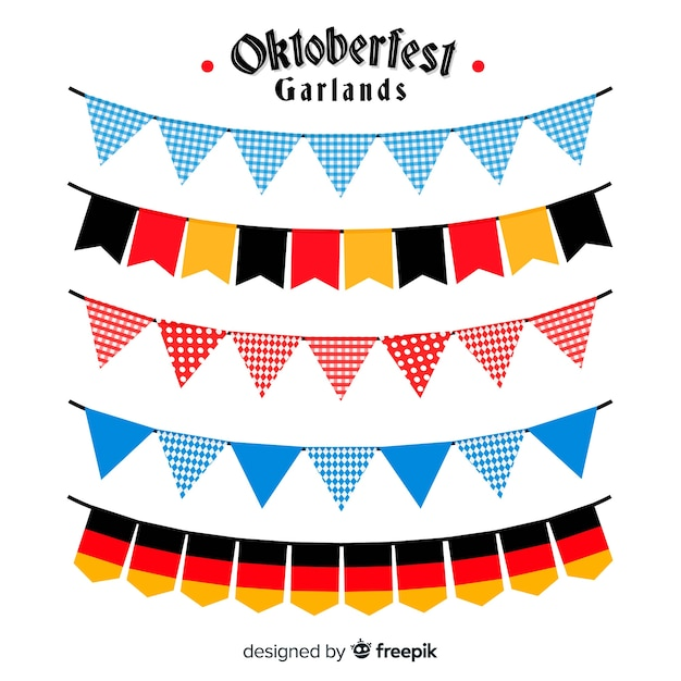 Oktoberfest colorful garland collection in flat design Free Vector
