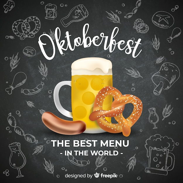 Oktoberfest concept background with beer and food Free Vector
