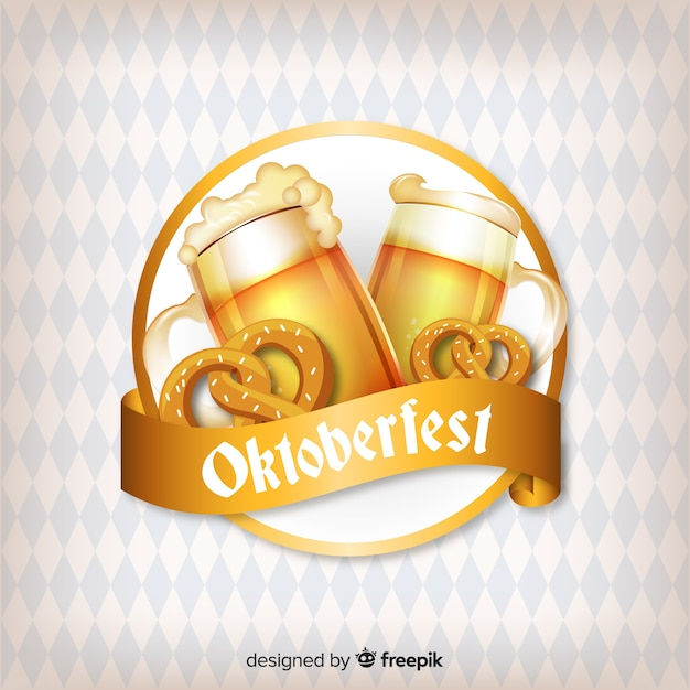 Oktoberfest concept background with beers and pretzels Free Vector