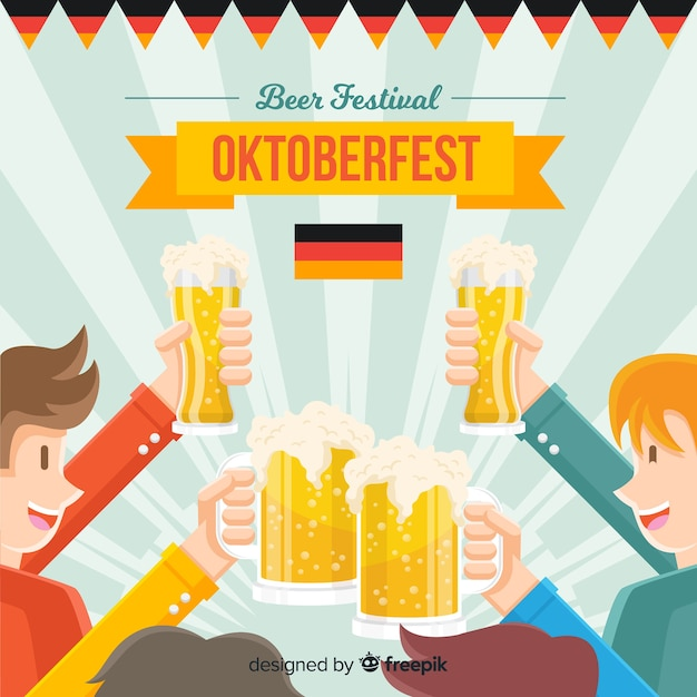 Oktoberfest concept background with happy people and beer Free Vector