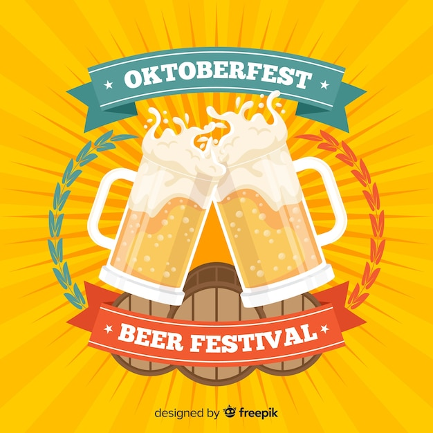 Oktoberfest concept background with jars of beer Free Vector