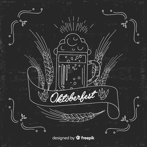 Oktoberfest concept on blackboard background Free Vector