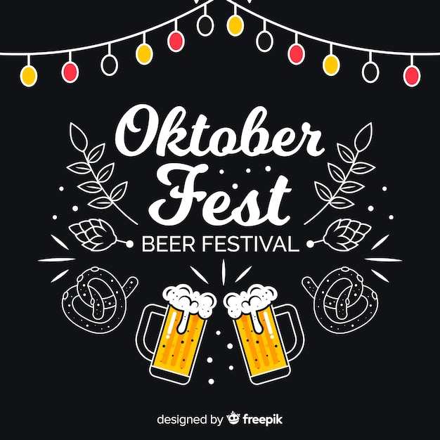 Oktoberfest concept with blackboard background Free Vector