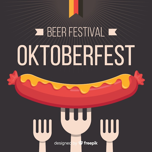 Oktoberfest concept with flat design background Free Vector