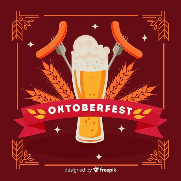 Oktoberfest concept with hand drawn background Free Vector