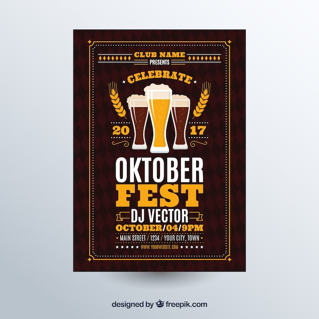 Oktoberfest, dark brown poster Free Vector
