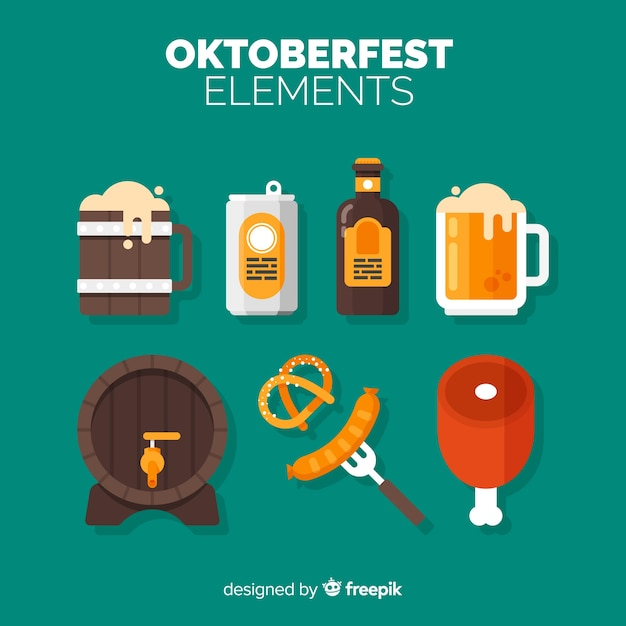 Oktoberfest element collection with flat design Free Vector