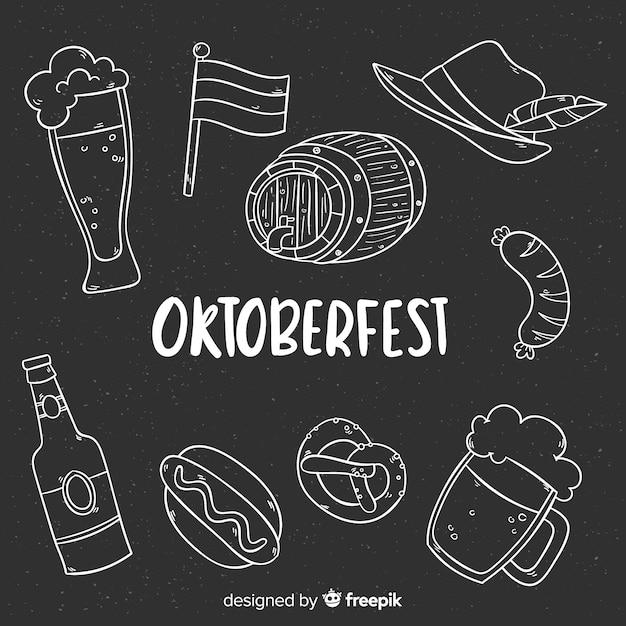 Oktoberfest elements background blackboard style Free Vector