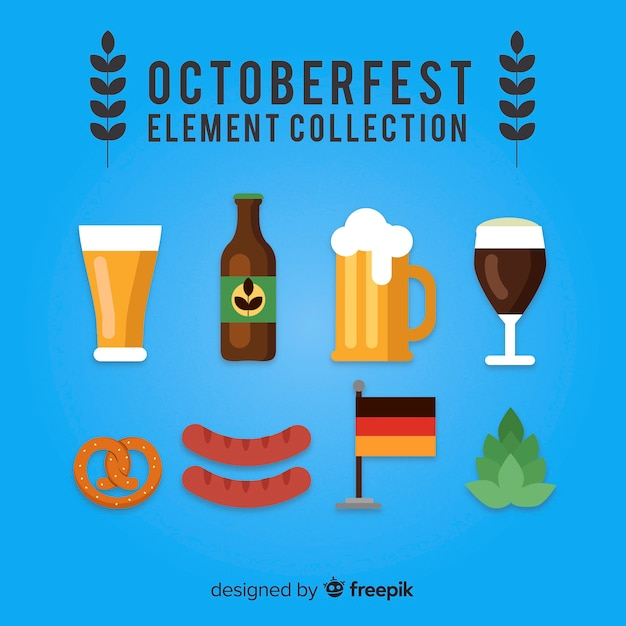 Oktoberfest elements collection in flat design Free Vector