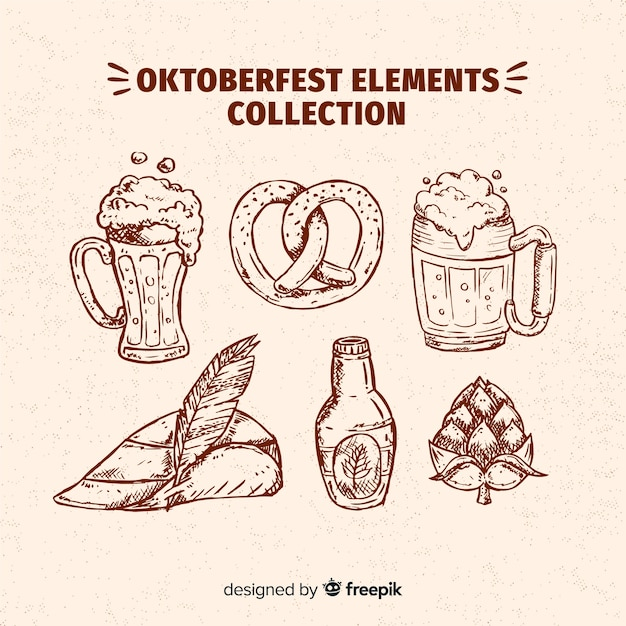 Oktoberfest elements collection in hand drawn style Free Vector
