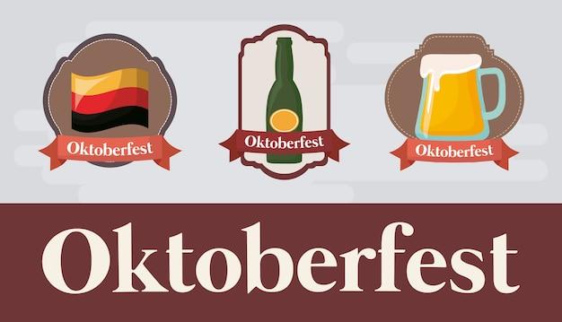Oktoberfest festival design with icon vectot ilustration Premium Vector