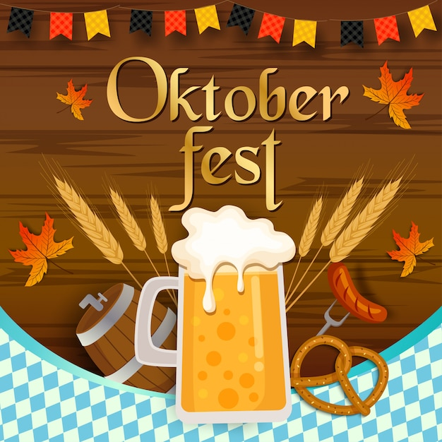 Oktoberfest festival  with wooden plank  and beverage and food. Premium Vector