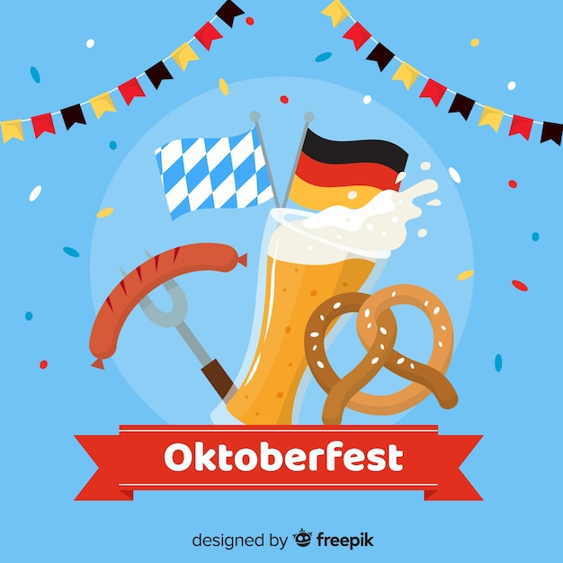 Oktoberfest flat design with elements Free Vector