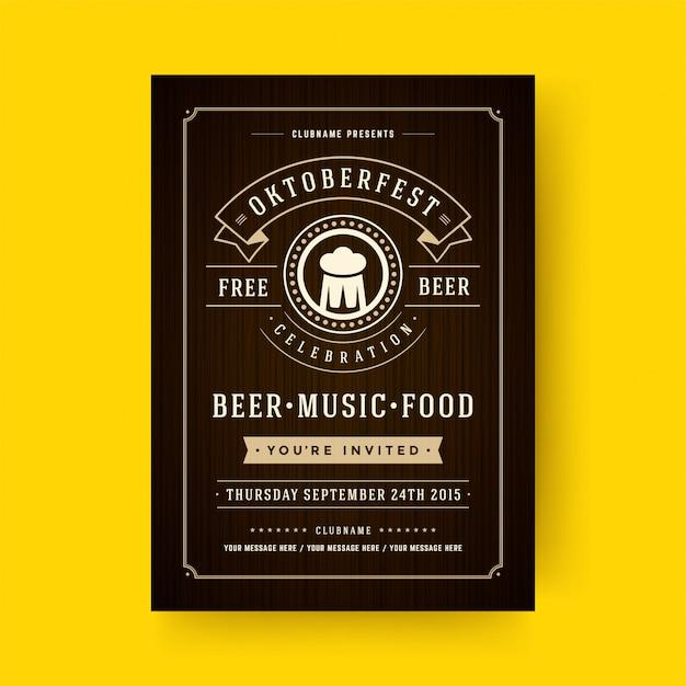 Oktoberfest flyer or poster retro typography template design invitation beer festival celebration Premium Vector