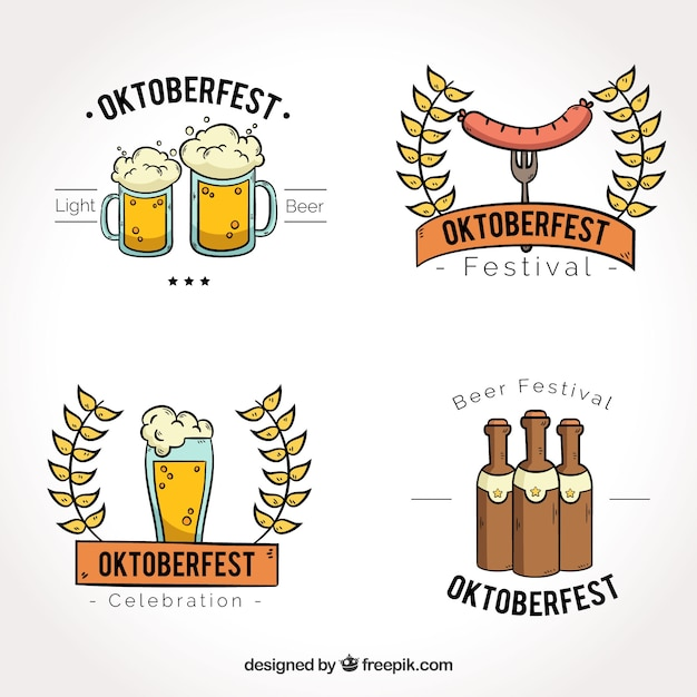Oktoberfest, four hand-drawn badges