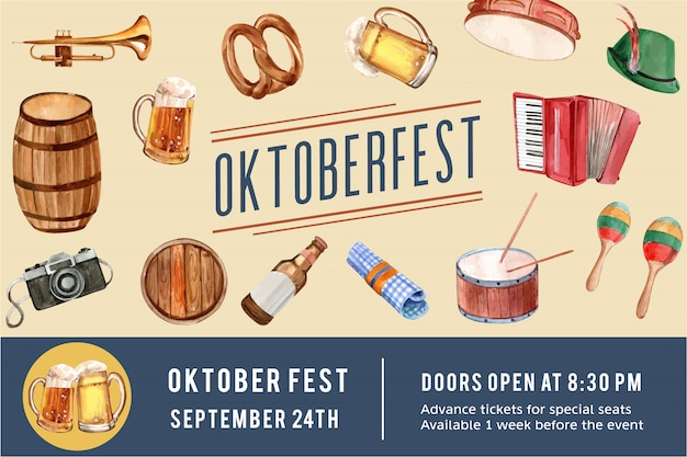 Oktoberfest frame design with beer, pretzel, entertainment watercolor illustration. Free Vector