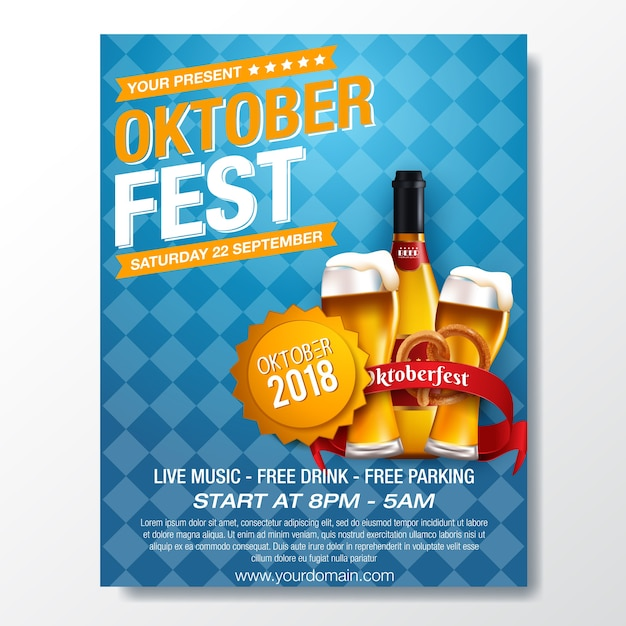 Oktoberfest german beer festival template Premium Vector