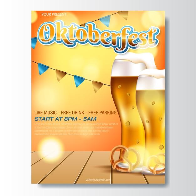Oktoberfest german beer festival template Premium Vector