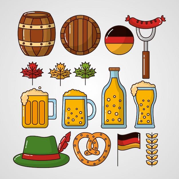 Oktoberfest germany celebration elements set Free Vector
