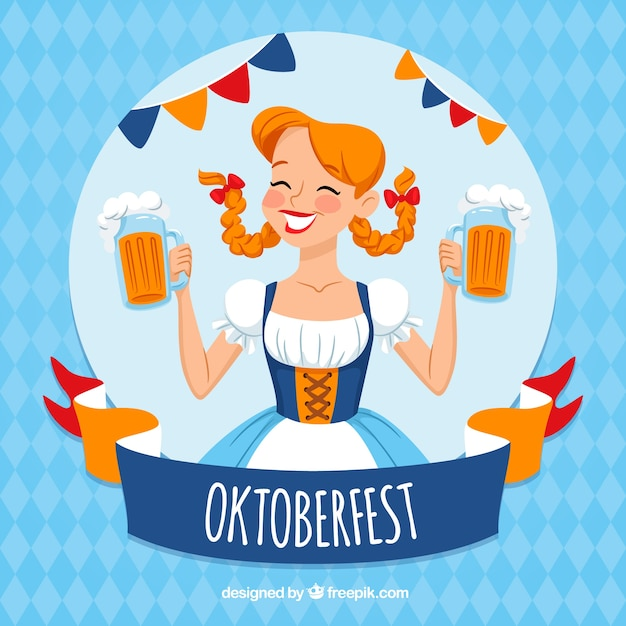 Oktoberfest girl in a traditional costume Free Vector