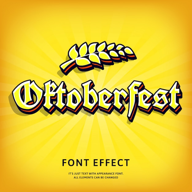 Oktoberfest gothic 3d text effect typographic for print design Premium Vector